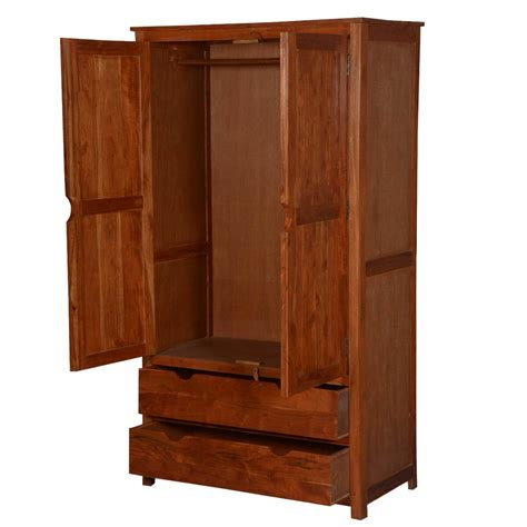 Armoire Closet by Ardencroft Contemporary Acacia Wood 2 Drawer Rustic