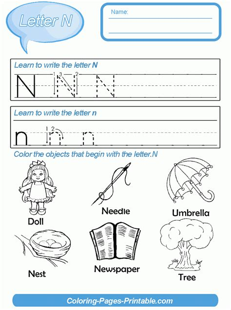 worksheet letter n worksheets for preschool worksheet