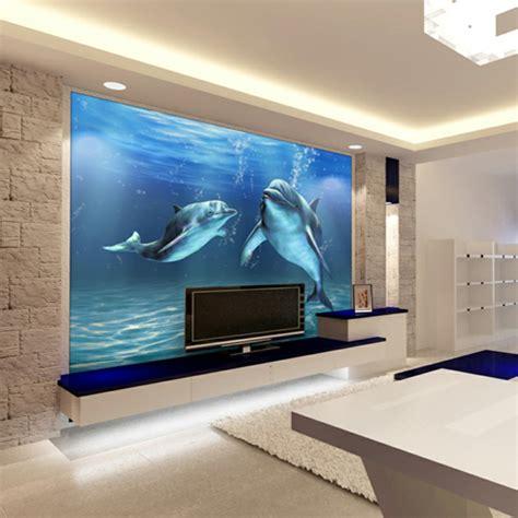 Fernseher Im Wohnzimmer by Unterwasserwelt Wandgestaltung Im Wohnzimmer