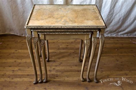 shabby chic nesting tables shabby chic nest of tables no 17 old ochre dark wax touch the wood