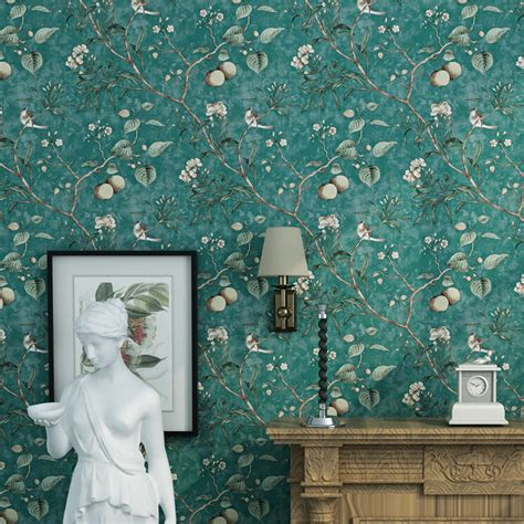 vintage large flower bird animal wallpaper pvc painting