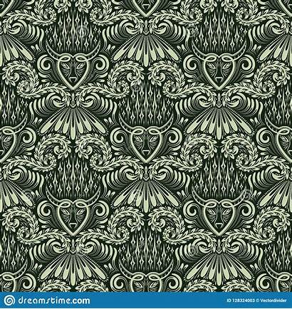 Baroque Damask Repeating Seamless Ornament Floral Pattern