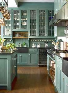 Green, Kitchen, Cabinets, In, Appealing, Design, For, Modern, Kitchen, Interior