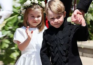 Image result for prince george and princess charlotte at eugenies wedding