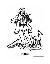 Fiddle Coloring Pages Dog Playing Music Colormegood sketch template