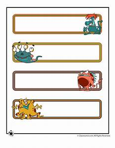 Printable name plates cute monsters woo jr kids for Bulletin board template word