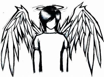 Anime Sad Drawing Emo Angel Coloring Pages
