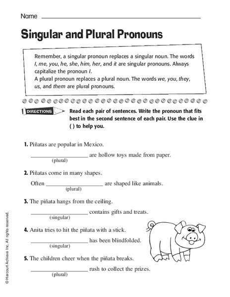 all worksheets 187 second and third person pronouns