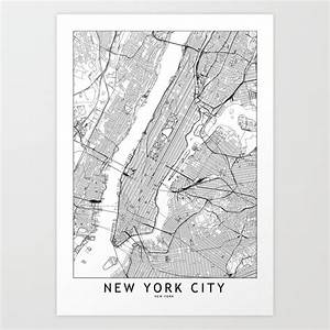 New York City White Map Art Print By Multiplicity