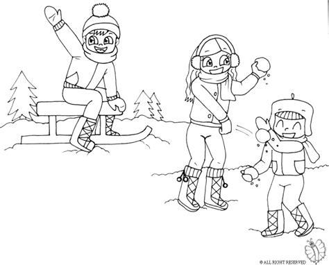 bambini gioco disegno sta disegno di giocare con la neve da colorare