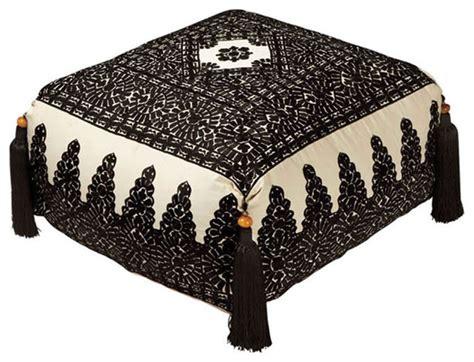 Maroc Ottoman by Moroccan Poufs Linen Embroidery Pouf Mediterranean