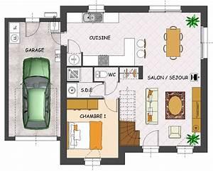 Plan Maison 1 Chambre 1 Salon : plan de maison 1 chambre cuisine naturelle ~ Premium-room.com Idées de Décoration