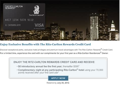 Receive credit for twice the nights. Increased 70,000 point sign-up bonus and first year annual fee waived on Ritz Carlton Rewards ...