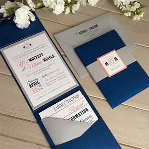 78 ideas about coral wedding invitations on pinterest for Royal blue and coral wedding invitations