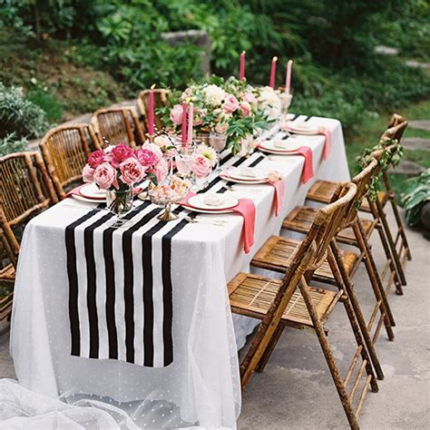 11 quot 98 quot black white striped table runner for wedding table decor 28cm 250cm in party diy
