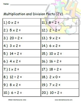 mixed practice fact quizzes multiplication  division