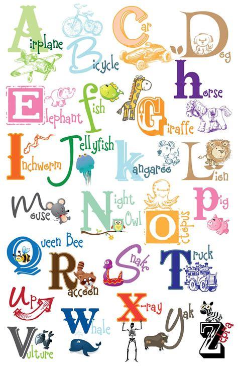 kids alphabet poster digital file diy printable art