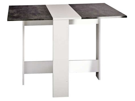 but table cuisine table de cuisine pliante sishui coloris blanc béton