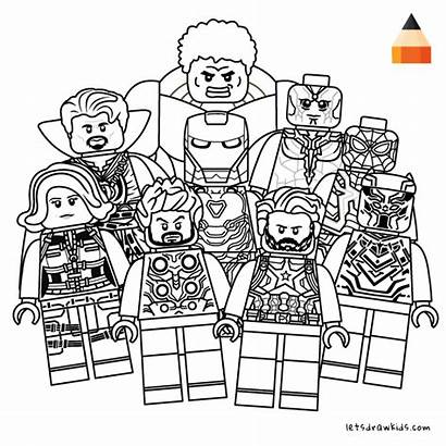 Lego Avengers Coloring Draw Marvel Pages Infinity