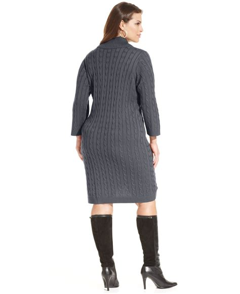 gray sweater dress calvin klein plus size cable knit sweater dress in gray lyst