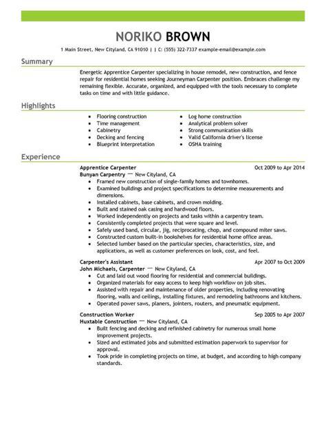 apprentice carpenter resume sample carpenter resumes