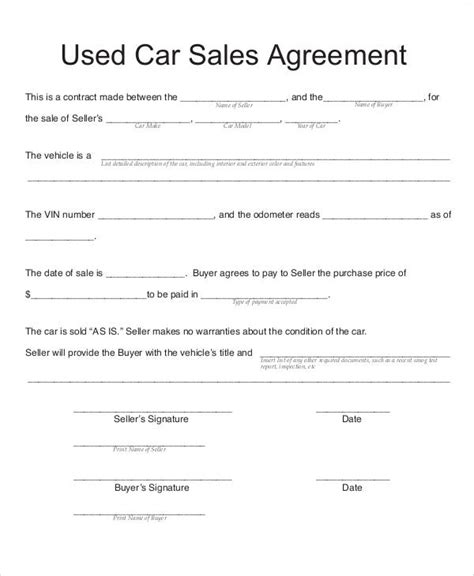 sample vehicle sales contract  examples  word