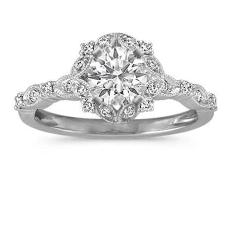 round halo vintage diamond engagement ring shane co