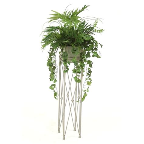 steins artificial trees silk mixed greenery in square wood planter in pewter plant stand free shipping in usa 1001shops
