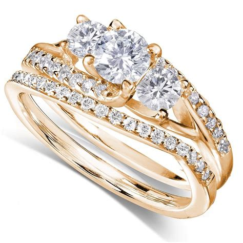certified 1 carat trilogy round diamond wedding ring in yellow gold jeenjewels