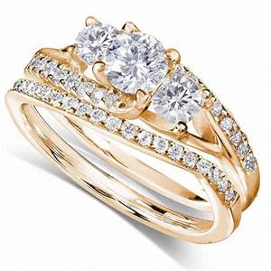 gia certified 1 carat trilogy round diamond wedding ring With yellow gold engagement wedding ring sets