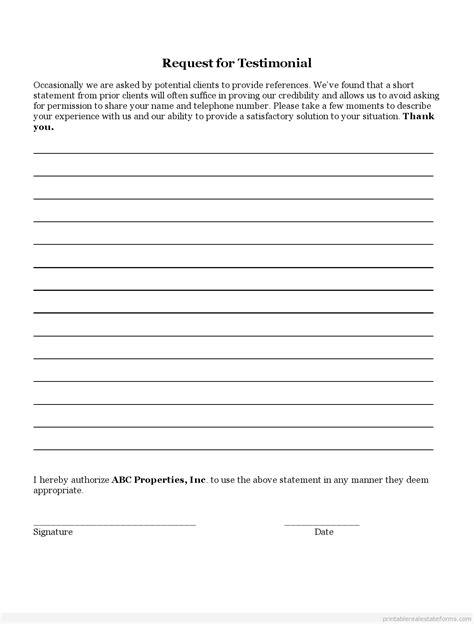 testimonial template free printable testimonial template blank sle word