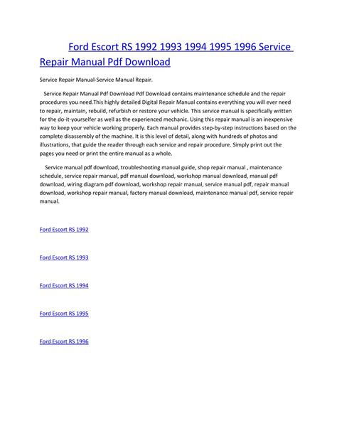 how to download repair manuals 1993 ford ltd crown victoria head up display ford escort rs 1992 1993 1994 1995 1996 service manual repair pdf download by amurgului issuu