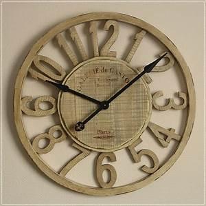 Große Uhr Wand : gro e wanduhr im xxl format aus holz im used look 75cm ebay ~ Indierocktalk.com Haus und Dekorationen