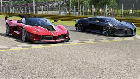 As far as top speed goes, the chiron will reach 261 mph. Ferrari FXX K Evo vs Bugatti La Voiture Noire at Monza Full Course in 2020   Ferrari fxx ...