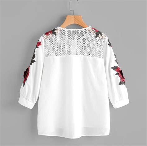 embroidered lace blouse women autumn hollow  white