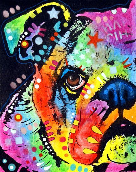 Peeking Bulldog Painting By Dean Russo