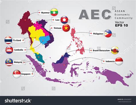 asean economic community aec map aec asean economic community world map stock vector asea