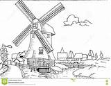 Mill Coloring Dutch Landscape Drawn Pages Hand Watermill Adult Template Designlooter Illustration sketch template