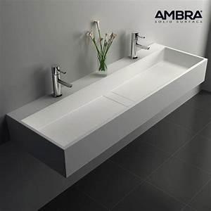 Grande Vasque À Poser : vasque double rectangulaire 120 cm en solid surface composite blanc valencia ~ Melissatoandfro.com Idées de Décoration