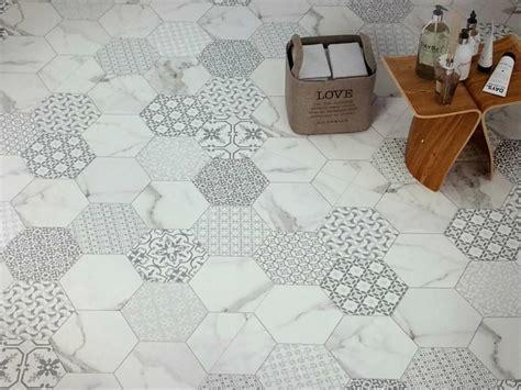 White Kitchen Design Ideas - hexagon mosaic floor tile new home design beauty with hexagon floor tile