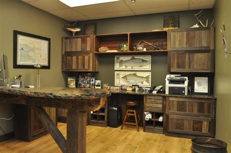 reclaimed barn wood office rustic home office