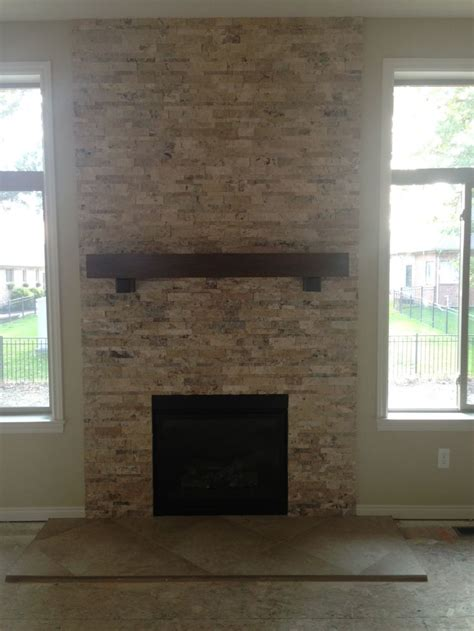 stacked tile fireplace travertine stacked stone fireplace fireplace do over pinterest