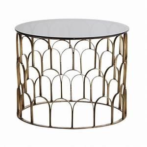 Table Basse Art Deco : table basse ronde laiton antique art deco verre noir madam stoltz ~ Teatrodelosmanantiales.com Idées de Décoration
