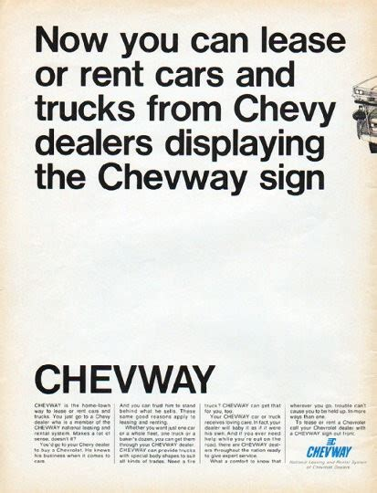 """1966 Chevway Vintage Ad """"now You Can Lease"""""""