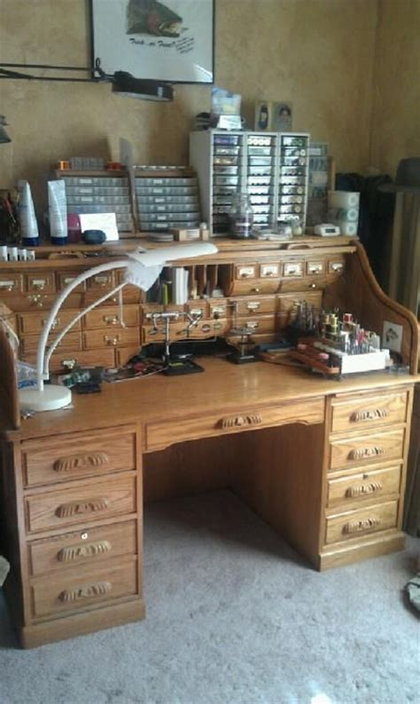 fly tying desk setup fly tying bench i could make a roll top desk look a lot