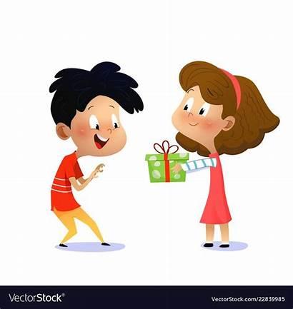 Present Birthday Boy Cartoon Vectorstock Gives Childrens