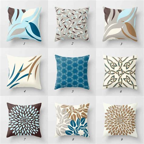 grey and brown throw pillows throw pillow covers toss pillows blue gray and brown 6951