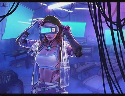 Cyberpunk Virtual Reality Cyber Robot Redhead Cyborg