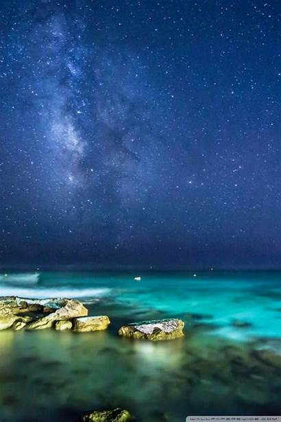 Ocean Night Sky 4k Background Wallpapers Mobile
