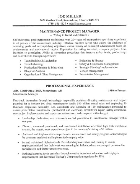 maintenance manager resume sle all trades resume
